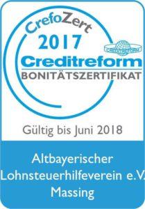 Creditreform Bonitätszertifikat Altbayerischer Lohnsteuerhilfeverein e.V.